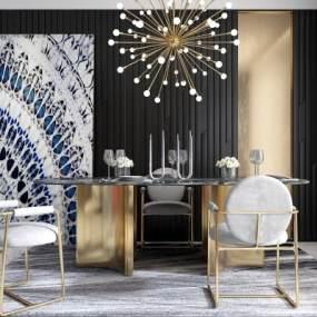 现代餐厅餐桌餐椅挂画组合3D模型【ID:531604102】