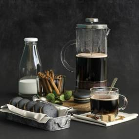 现代蛋糕咖啡牛奶食物饮料3D模型【ID:233367507】