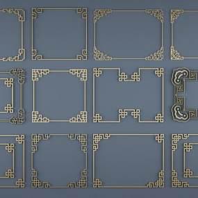 新中式角花角线中式花格3D模型【ID:333113676】