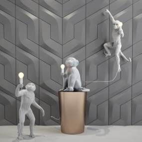 后现代猴子雕塑壁灯3D模型【ID:836070224】