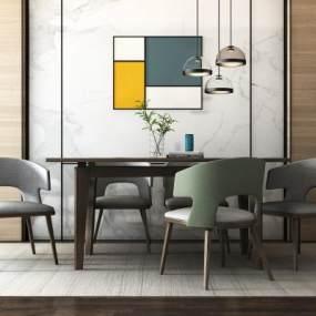 现代餐桌椅组合3D模型【ID:836261845】