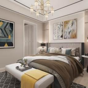 现代卧室3D模型【ID:553434221】