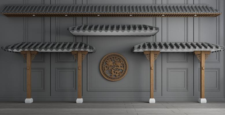 新中式屋頂3D模型【ID:645877616】