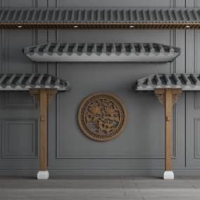 新中式屋顶3D模型【ID:645877616】