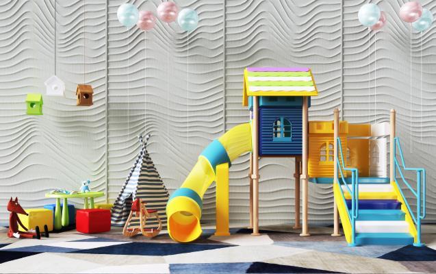 现代儿童游乐设施3D模型【ID:453011154】