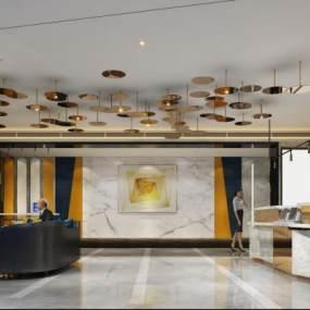 现代酒店大厅3D模型【ID:734502097】