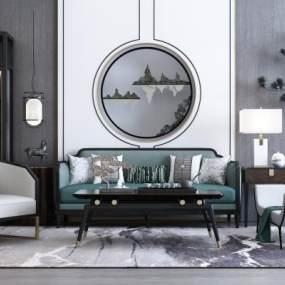 新中式沙发 3D模型【ID:640930717】