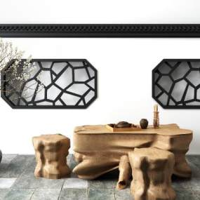 新中式木根雕茶几茶桌3D模型【ID:635765885】
