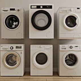 现代滚筒全自动洗衣机3D模型【ID:238183619】