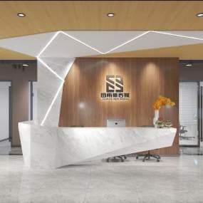 现代办公楼公司前台3D模型【ID:944496244】
