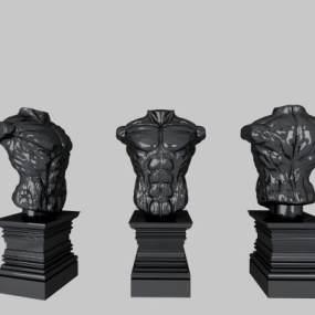 现代肌肉男雕塑摆件3D模型【ID:235616595】