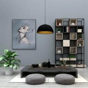 新中式泡茶桌椅装饰柜装饰画吊灯组合3D模型【ID:930507541】