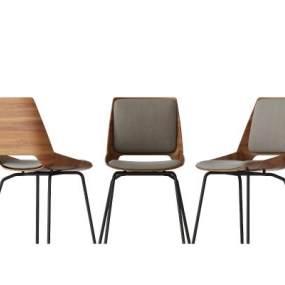 現代實木布藝單椅3D模型【ID:734486034】
