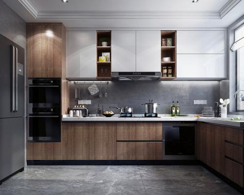 现代风格厨房3D模型【ID:542316350】