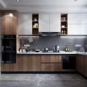 現代風格廚房3D模型【ID:542316350】