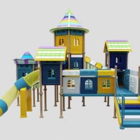 现代儿童滑梯3D模型【ID:437130169】