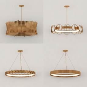 現代金屬吊燈組合3D模型【ID:747716817】