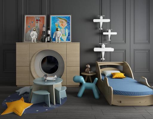 現代兒童床3D模型【ID:841767881】
