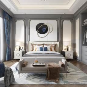 现代轻奢卧室3D模型【ID:543436299】