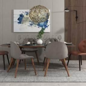 北歐簡約餐桌椅組合3D模型【ID:847951873】