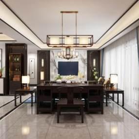 新中式客厅餐厅 3D模型【ID:542370079】