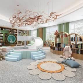 现代幼儿园图书室3D模型【ID:953153847】