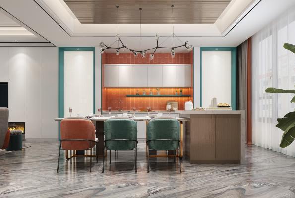 現代客廳餐廳3D模型【ID:551026042】