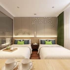 现代酒店客房3D模型【ID:744037301】