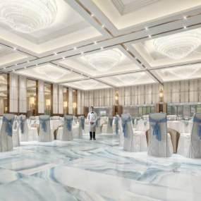 新中式酒店3D模型【ID:744580278】