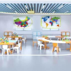 现代幼儿园教室桌椅装饰柜黑板组合3D模型【ID:930595671】
