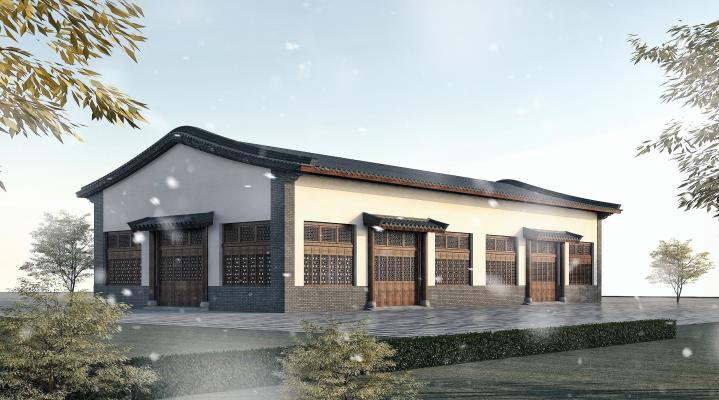 中式古建筑工业厂房3D模型【ID:246170330】