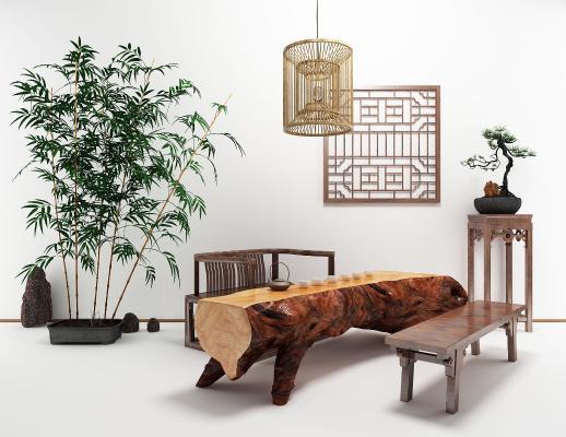 新中式老木头茶桌板凳茶艺组合3D模型【ID:931310584】