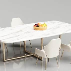 欧式简约大理石餐桌椅3D模型【ID:835958844】
