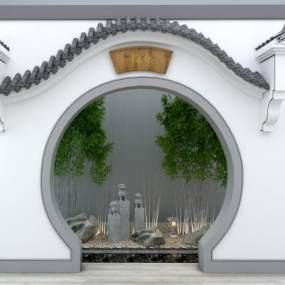 新中式徽派马头墙3D模型【ID:136262476】