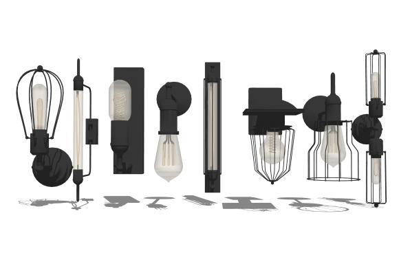 現代工業風壁燈組合SU模型【ID:347735927】