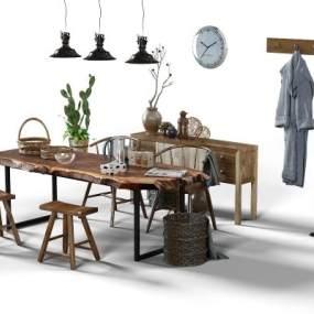 餐桌椅组合 3D模型【ID:840803846】