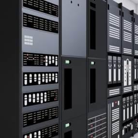 现代电脑服务器机柜组合3D模型【ID:234745775】