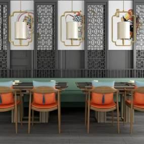 新中式木质餐桌椅组合吊灯屏风隔断窗帘组合 3D模型【ID:841407843】