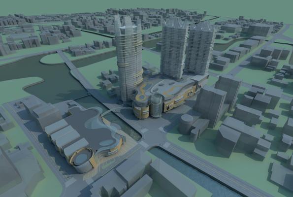 现代城市规划模型3D模型【ID:142110602】