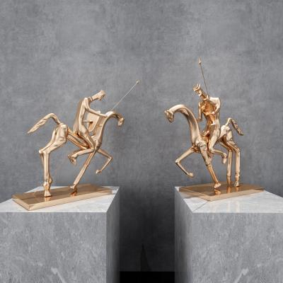 现代金属骑士雕塑 摆件组合