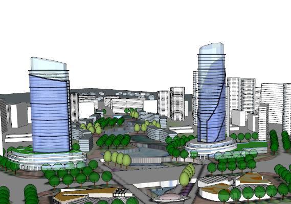 现代城市高层建筑规划SU模型【ID:351698266】