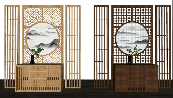 新中式玄关柜SU模型【ID:450193505】