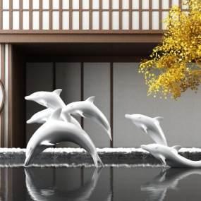 新中式水景海豚雕塑 3D模型【ID:342182165】