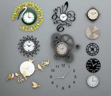 现代钟表工业钟表墙饰挂钟组合3D模型【ID:330577310】