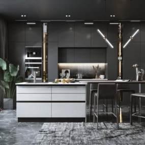 现代风格餐厅厨房3D模型【ID:554027365】