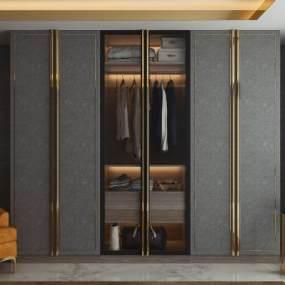 現代輕奢衣柜3D模型【ID:146585417】