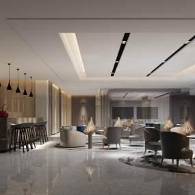 现代酒店会客厅3D模型【ID:732023582】
