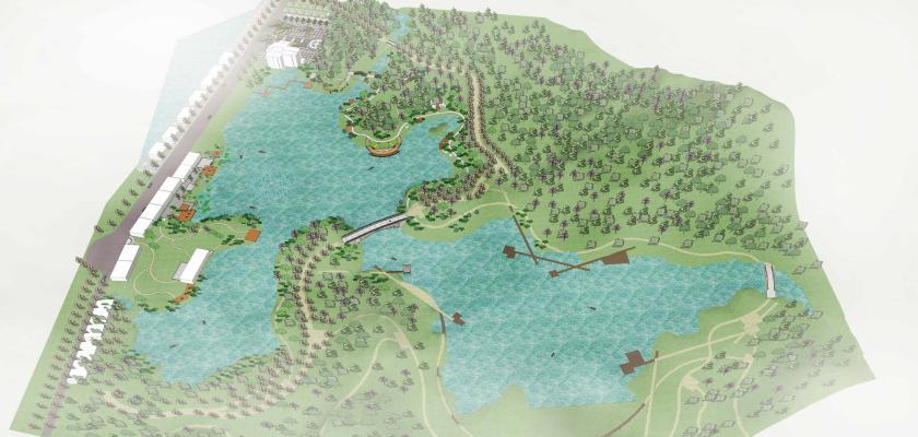現代濕地公園SU模型【ID:545722717】
