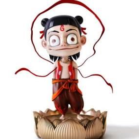 现代哪吒手办雕塑装饰摆件3D模型【ID:345247190】
