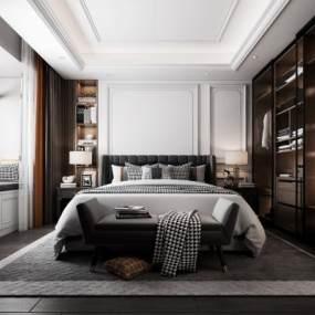 现代卧室3D模型【ID:549426238】